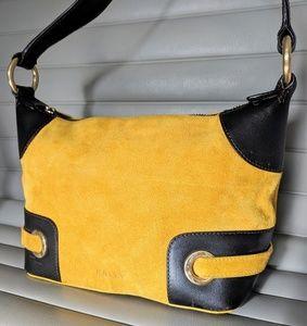 Authentic Bally Italian suede tumeric yellow purse